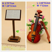 1/12 scale Dollhouse Miniatures Accessoies Wood Music Stand and Violin