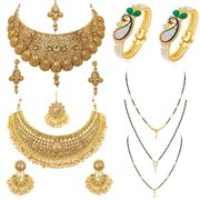Sukkhi Fascinating Pearl Gold Plated Necklace Mangalsutra & Kada Combo